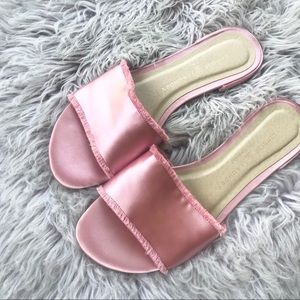 Chinese Laundry Satin Pink Slide On Sandals 7.5
